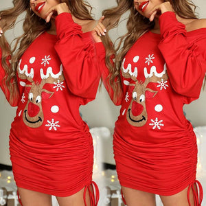 Christmas long sleeve pleated Hip Wrap Dress