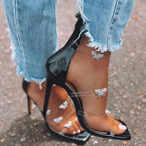 Diamond Butterfly transparent thin high heel square sandals