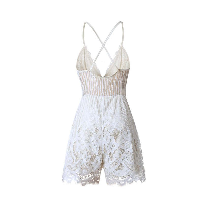 Spaghetti Straps Deep V_neck High Waist Short Lace Jumpsuit