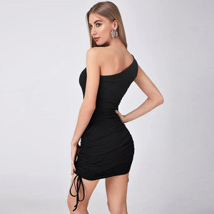 One Shoulder Slant Shoulder Pleated Bandage Knitted Dress