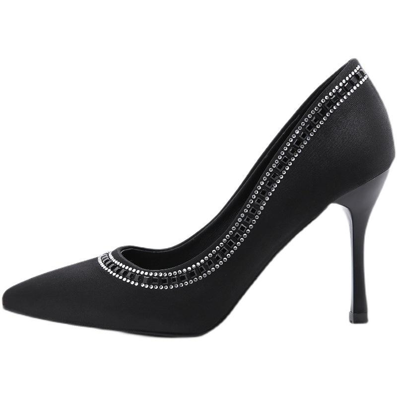 Diamond Thin High Heel Black Satin Shoes