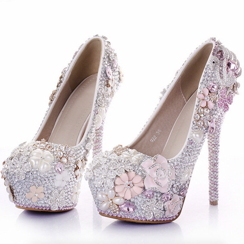 Light Pink Pearl Luxury Diamond 14cm High Heel Wedding Shoes