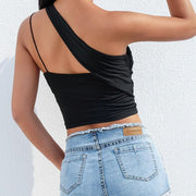 Sexy Irregular inclined shoulder sling Hollow Out Backless T-shirt