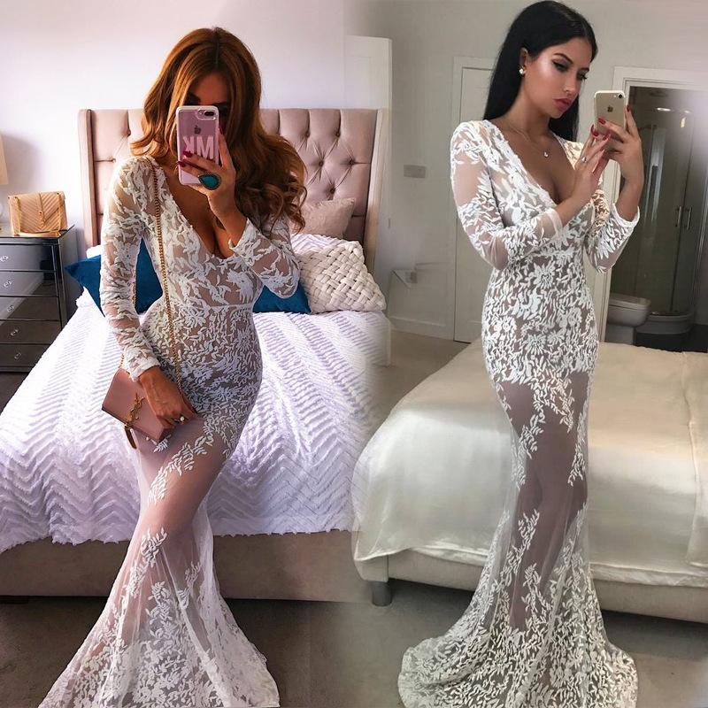 Free Shipping V-neck Lace Perspective Long Party Dress