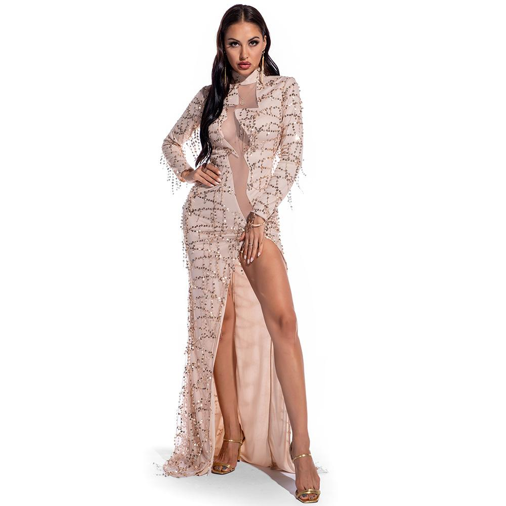 Mesh patchwork Sequin Party Long Dress