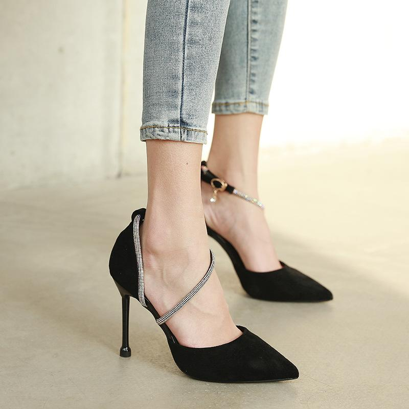 Suede Hollow Water Drill Buckle Shoes
