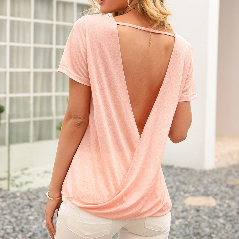 Round neck short sleeve open back T-shirt