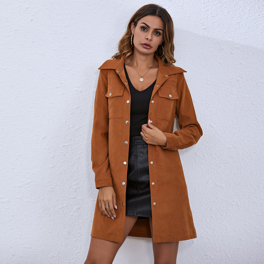 Lace Up Double Pocket Breasted Shirt Dress