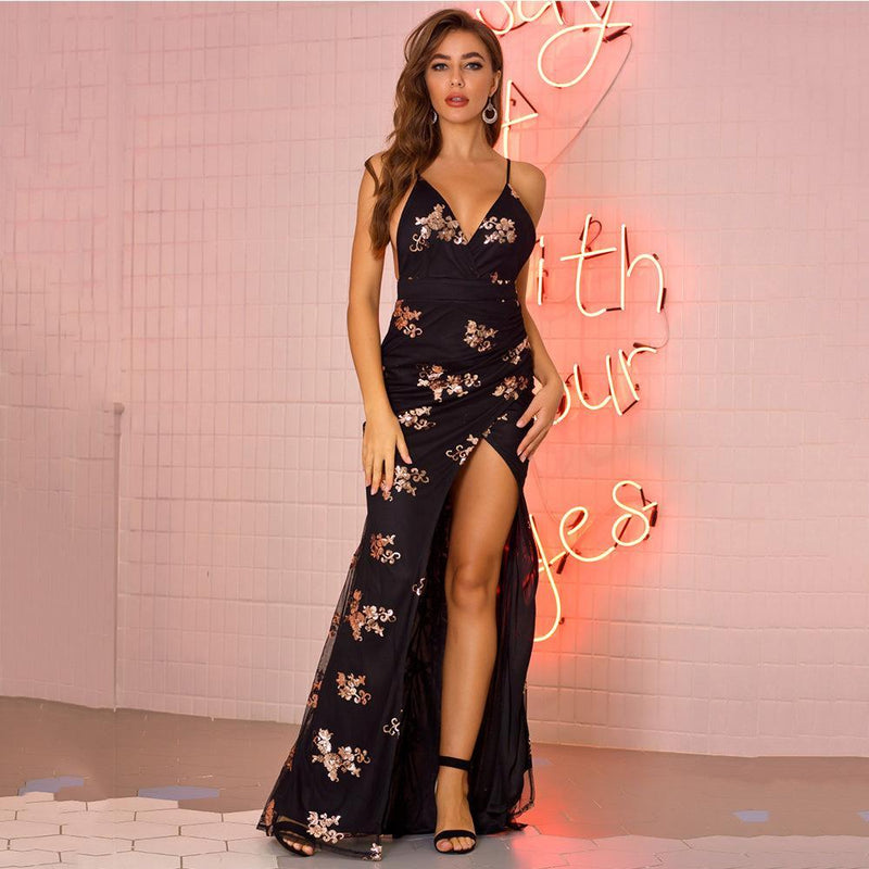Sexy Embroidery  Nightclub Long Blackless Dress