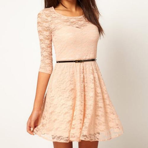 3/4 Sleeve Lace Dress With Belt