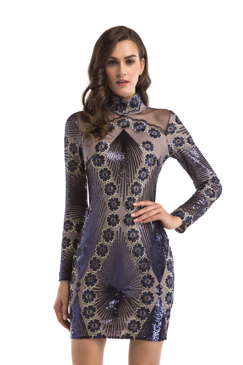 Mesh Long Sleeve Embroidered Sequin Dress