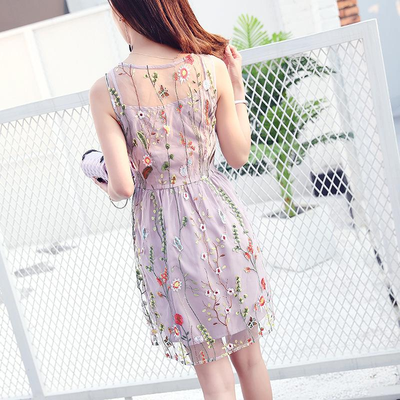 Embroidery Flowers Transparent Mesh Patchwork Shot Dress