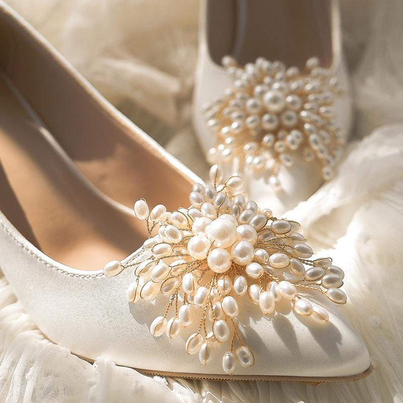 Shallow Mouth High Heel Satin Wedding Shoes