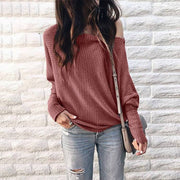 Scoop Long Sleeves Pure Color Regular Sweater