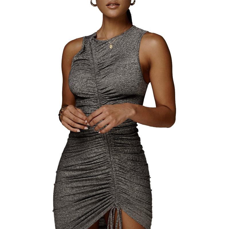 Sleeveless Irregular Drawstring Dress