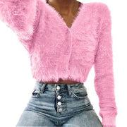 V-neck Buttons Loose Mohair Cropped Cardigan