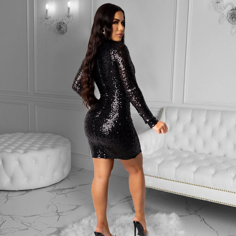 Long Sleeve Beaded Slim Dress