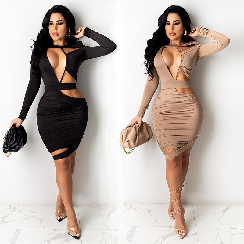Cut Out Pleated Long Sleeve Tight Dress