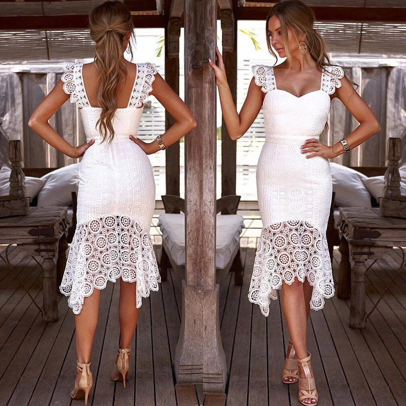 Lace Slim Irregular Dress