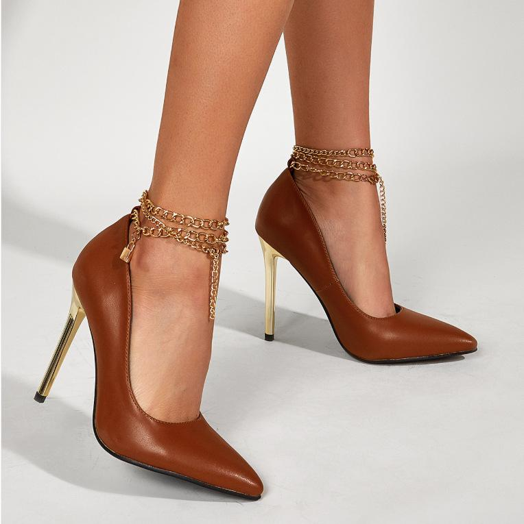 Shallow Metal Chain Stilettos