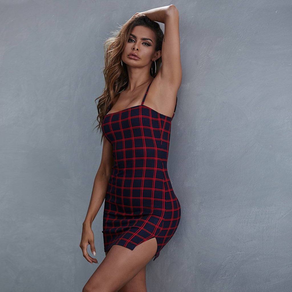 Sleeveless Plaid Mini Dress