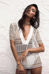 Deep V-neck Transparent Short Sleeves Cover Up Dress