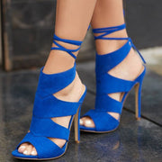 Blue Suede Peep Toe Strap Cutout High Heel Sandals