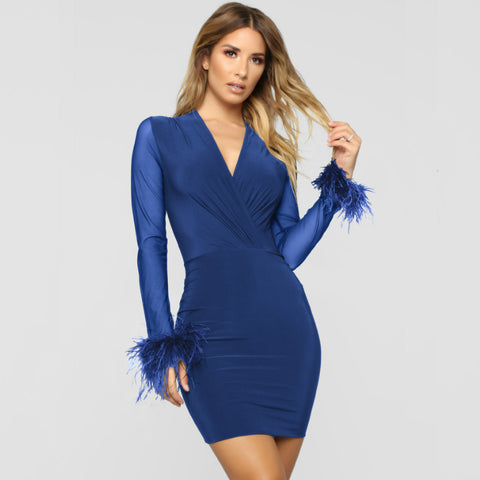 Feather Cuff Bodycon Short Dress