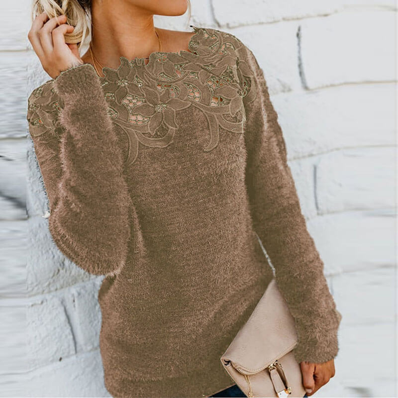 Hollow Out Lace Pure Color Sweater