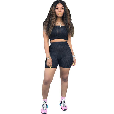 Strapless Crop Top High Waist Shorts Set