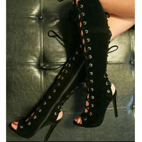Peep Toe Lace Up Knee High Black Sandal Boots