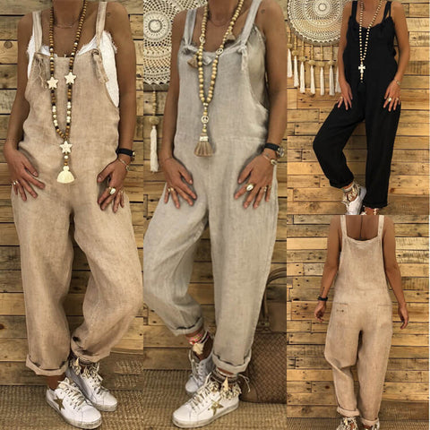 Wide Leg Pockets Loose Overall Jumpsuit