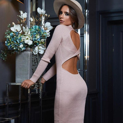 Back Twist Bodycon Midi Dress