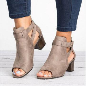Cut Out Suede Chunky Heel Boot Sandal