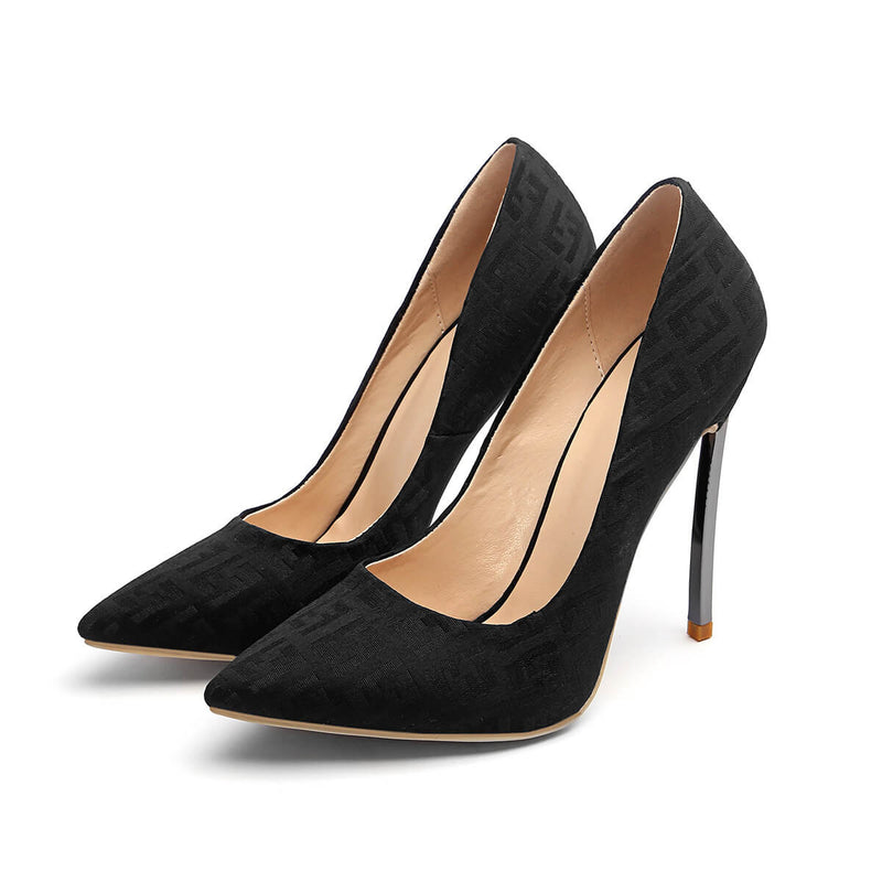 Casual Letter Print Pointed Toe Stiletto Heel Pumps