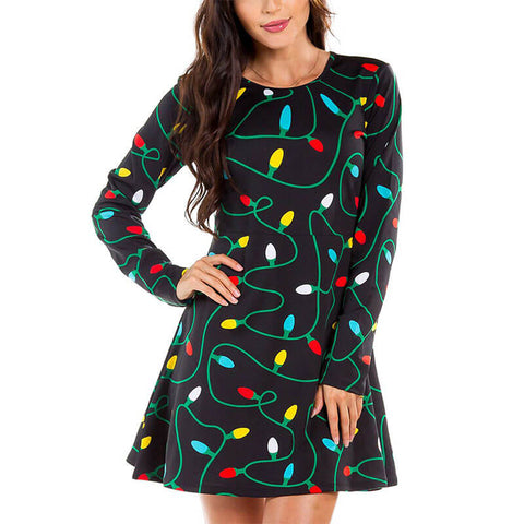 Christmas Cartoon Print A Line Empire Waist Dress