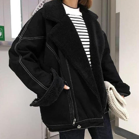 Black Shearling Sherpa Jacket