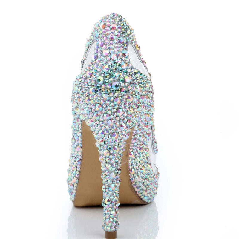 Rhinestone High Heel  Peep Toe Sandals