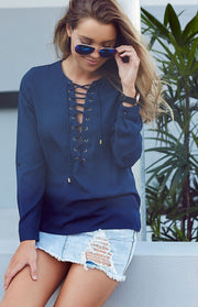Straps Lace Up V Neck Long Sleeve Pure Color T-shirt
