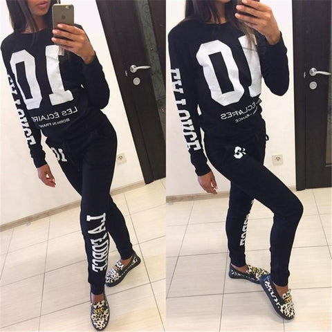 Scoop Long Sleeves Sweatshirt Drawstring Pants Two Pieces Set