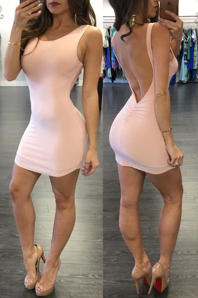 Pure Color Backless Sheath Bodycon Sleeveless Dress - Meet Yours Fashion - 5