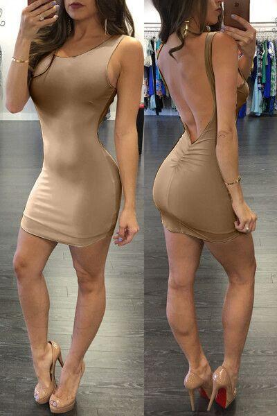 Pure Color Backless Sheath Bodycon Sleeveless Dress - Meet Yours Fashion - 6