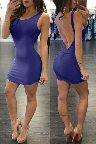 Pure Color Backless Sheath Bodycon Sleeveless Dress - Meet Yours Fashion - 9