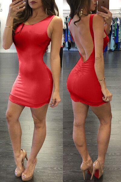 Pure Color Backless Sheath Bodycon Sleeveless Dress - Meet Yours Fashion - 7