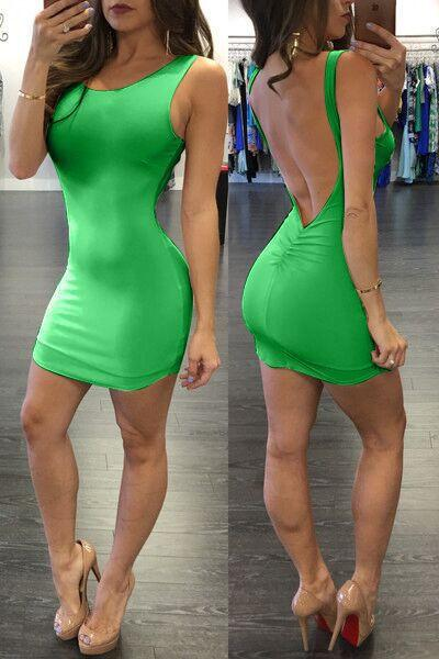 Pure Color Backless Sheath Bodycon Sleeveless Dress - Meet Yours Fashion - 8