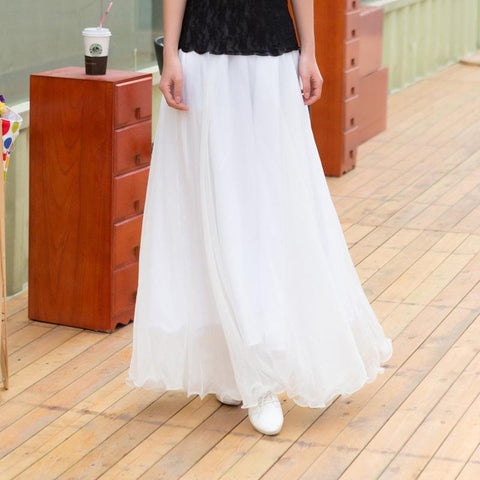 Chiffon Big Hem High Waist Pure Color Loose Long Beach Swing Skirt