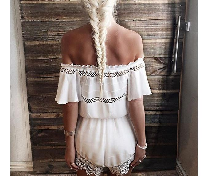Off-shoulder Lace Patchwork Hollow Out Jumpsuit - Bags in Cart - 4