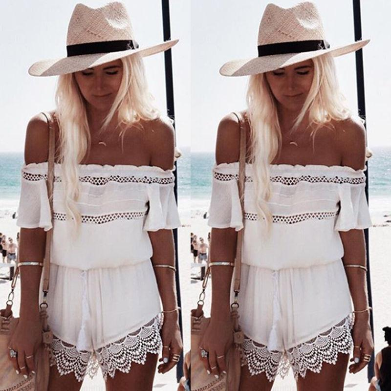 Off-shoulder Lace Patchwork Hollow Out Jumpsuit - Bags in Cart - 2