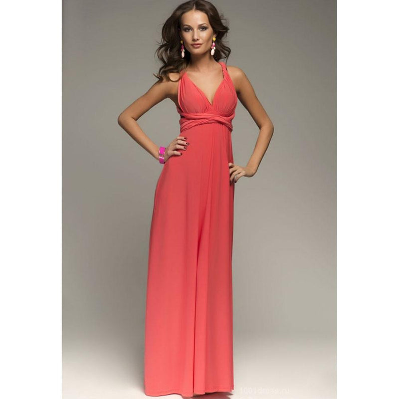 Back Cross V-neck Bandage Floor Length Prom Dress - Shoes-Party - 7