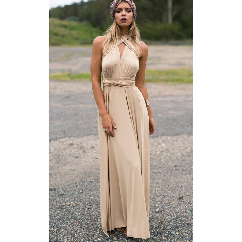 Back Cross V-neck Bandage Floor Length Prom Dress - Shoes-Party - 9